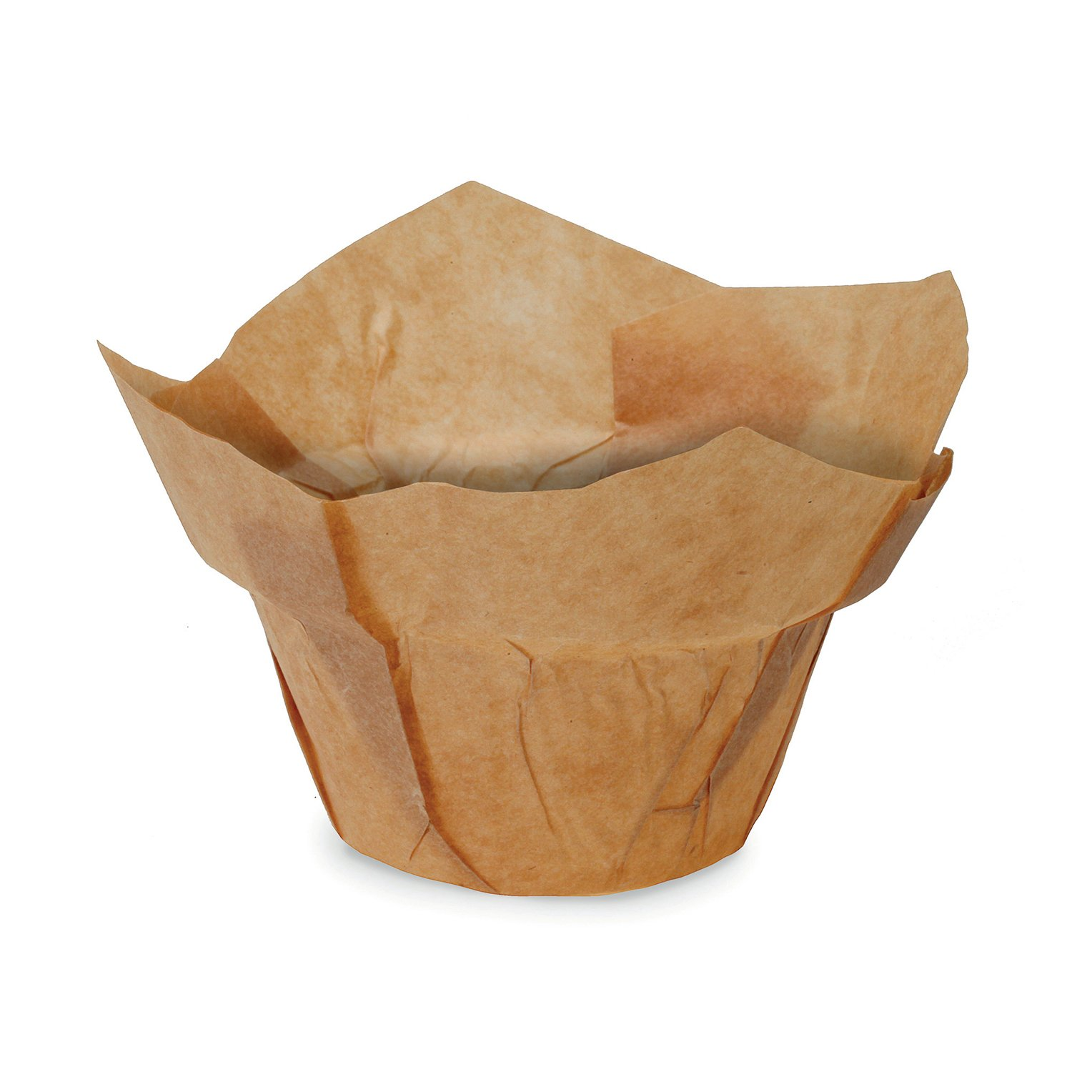 Welcome Home Brands TG0034 Kraft Low-Crown-Tulip Swedish Grease-Proof Paper Baking Cup 2 Inch Diameter x 2.5 Inch High - Pack of 100