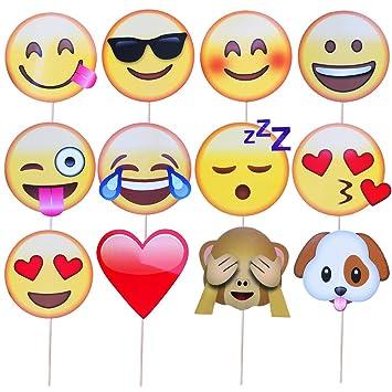 Meetory - Juego de 12 accesorios con forma de emojis para fotos, fiestas, cumpleaños y bodas: Amazon.es: Juguetes y juegos