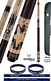 product image for Valhalla VA450 by Viking 2 Piece Pool Cue Stick Linen Wrap, Michigan Maple, Original Artwork, High Impact Ferrule, Nickel Silver Rings 18-21 oz. Plus Cue Case & Bracelet (Grunge VA450, 18)