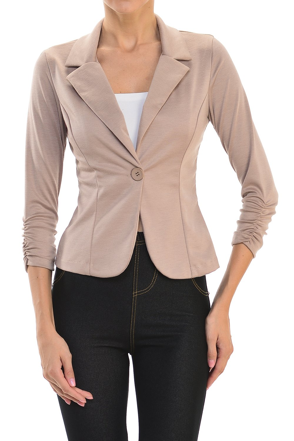 YourStyle Casual Work Solid Candy Color Blazer-MADE IN USA (2X-Large, Khaki)