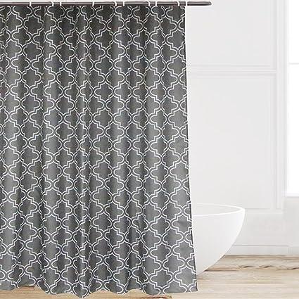 Eforcurtain 72 Inch Wide By 84 Long Soft Microfiber Shabby Chic Bath Curtains White Quatrefoil