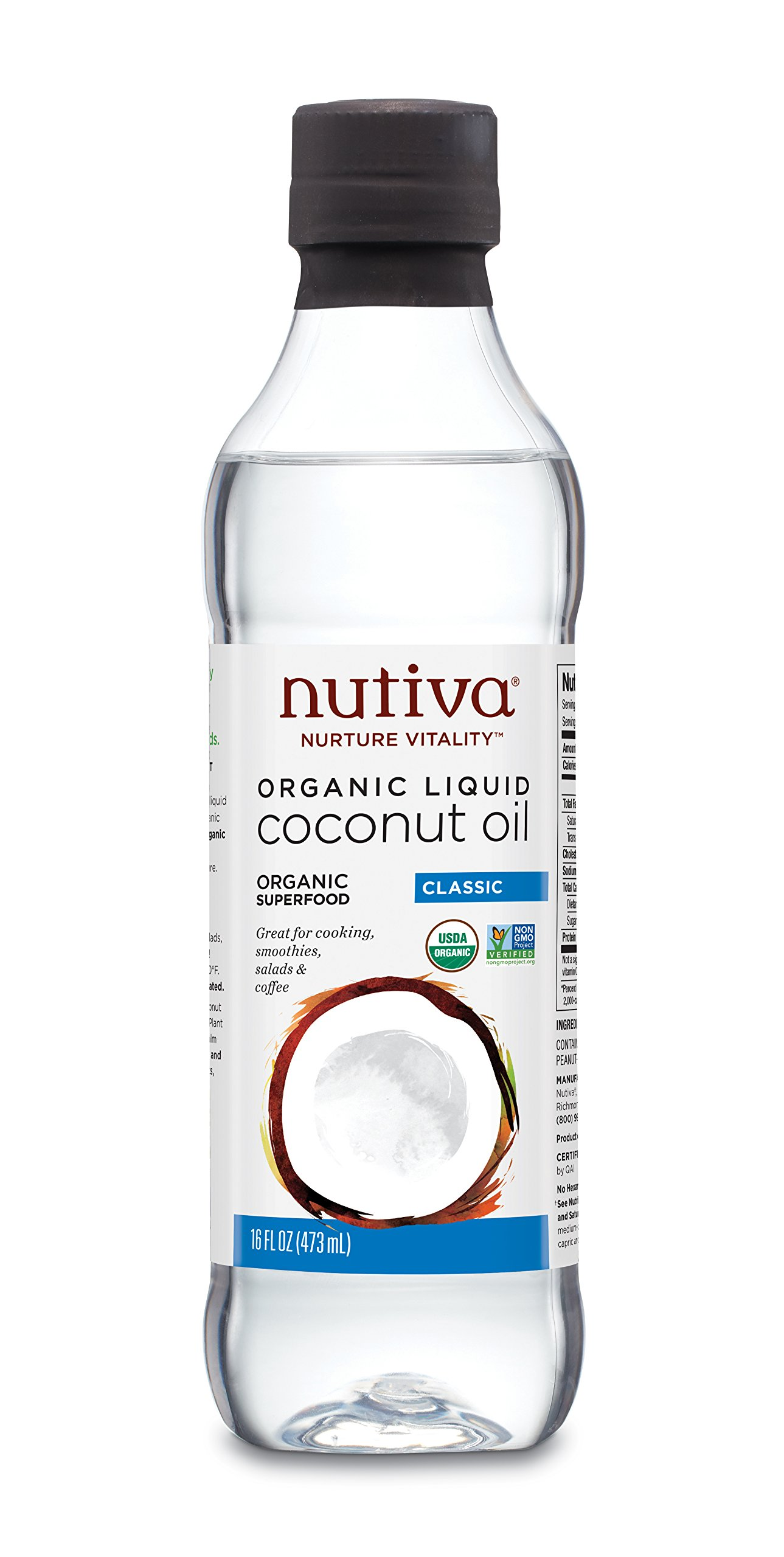 Nutiva Organic, Unrefined, Liquid Coconut Oil from Fresh, non-GMO, Sustainably Farmed Coconuts, 16-ounce