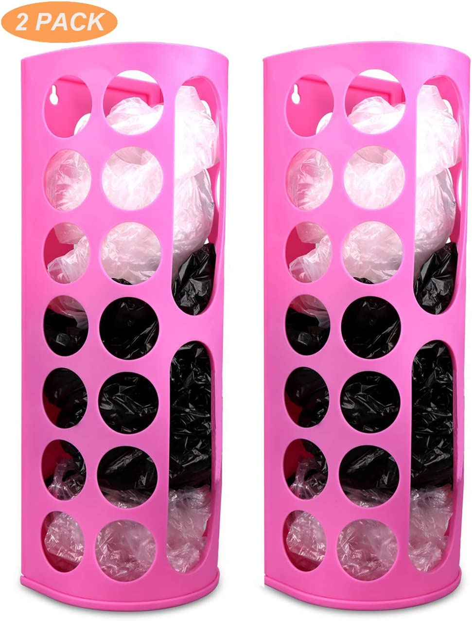 Lunies Wall Mount Bag Dispenser Large Capacity Plastic Bag Vinyl Holder - Multiple Large Holes for Easy Access Bags Great for Shopping Bags/Grocery Bags/Vinyl Storage Pink 2 Pack