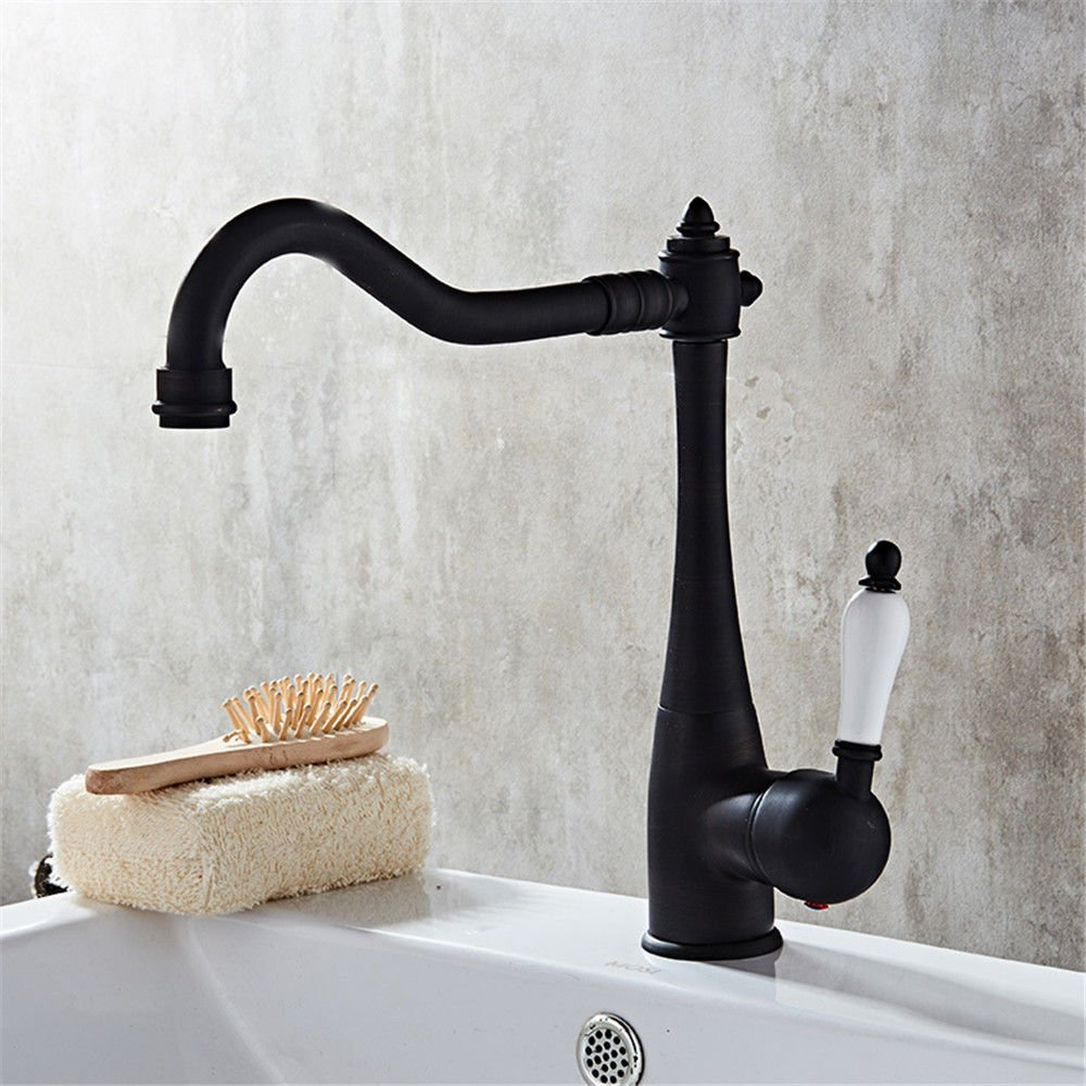 MEIBATH Waschtischarmatur Badezimmer Waschbecken Wasserhahn Küchenarmaturen Messing Warmes und Kaltes Wasser Einzelne Bohrung Schwarz Küchen Wasserhahn Badarmatur