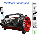 """Boytone BT-50RD Portable Bluetooth Boombox Speaker, Indoor/Outdoor 2.1 Hi-Fi Cylinder Loud Sound Built-in 5.25"""" Subwoofer, 2 x 2.25 Tweeters, Micro SD, USB Player, AUX Inputs, FM Radio, RGB Lights"""