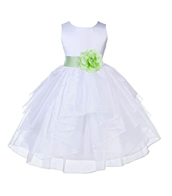 8413d21a8483 Amazon.com  Wedding Pageant White Shimmering Organza Flower Girl ...