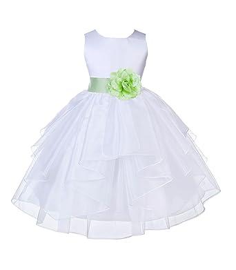 a0ae5e71fc2 ekidsbridal Wedding Pageant White Shimmering Organza Flower Girl Dress  4613S 2
