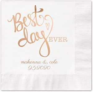 Canopy Street Best Day Ever Heart Personalized Beverage Cocktail Napkins / 100 White Paper Napkins With Choice Of Foil
