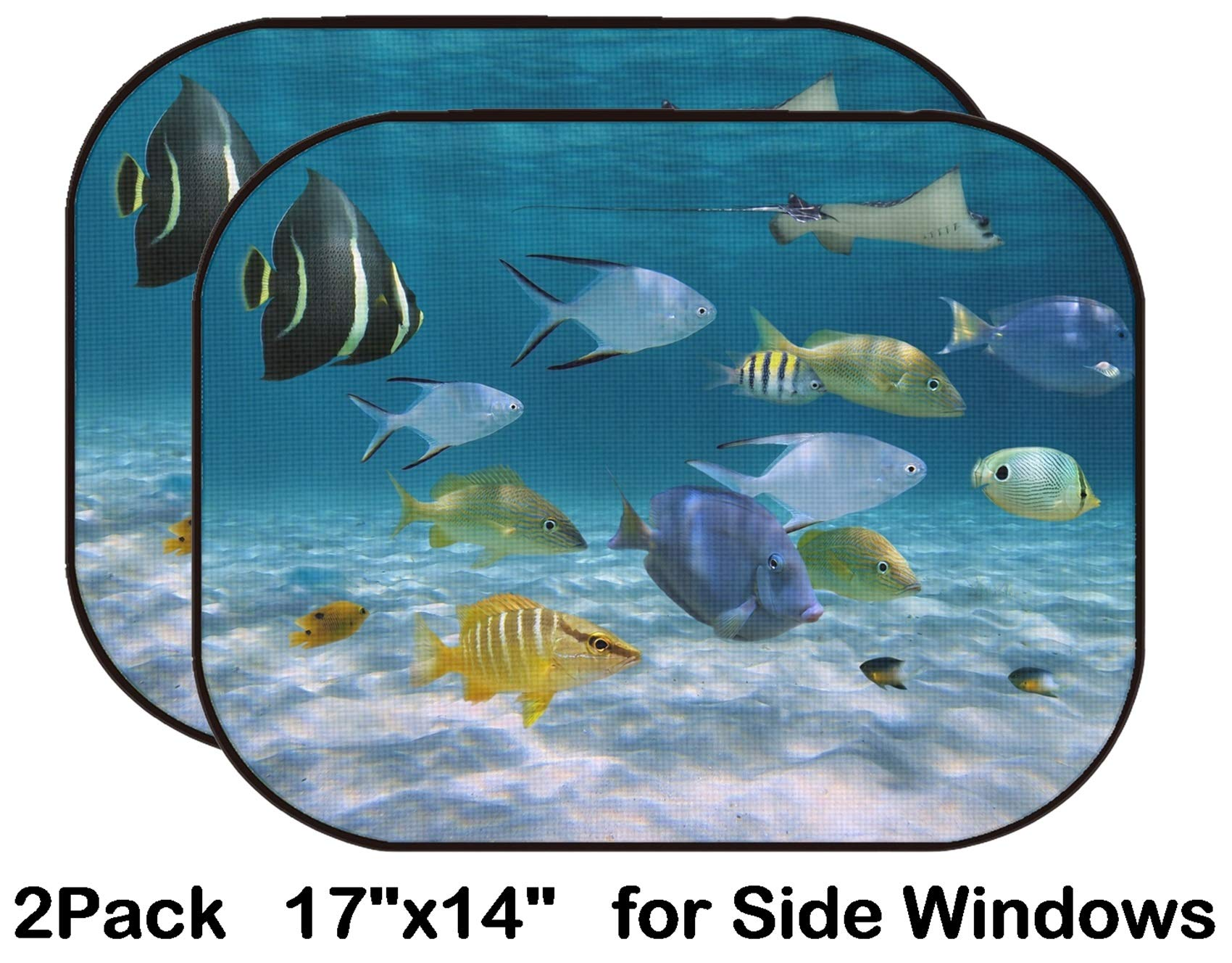 Liili Car Sun Shade for Side Rear Window Blocks UV Ray Sunlight Heat - Protect Baby and Pet - 2 Pack Image ID: 15641385 School of Fish with Ripples of Sunlight Reflected on The Sandy