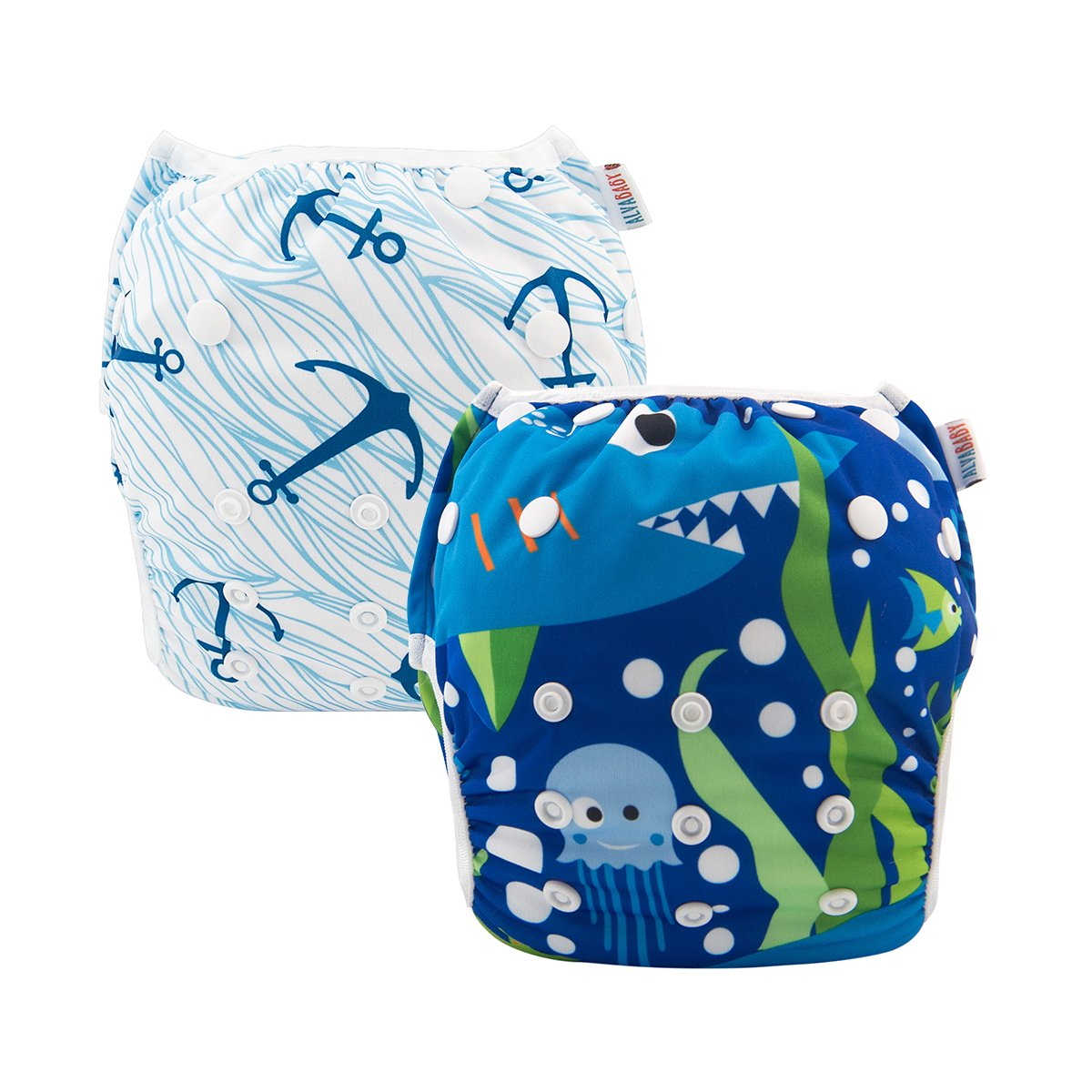 ALVABABY Swim Diapers Reuseable Washable Adjustable 2 PCS Pack One Size YK25-D26-299-CA