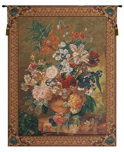 Amazon.com: Terracotta Floral Bouquet Gold Belgian Wall Art Tapestry ...
