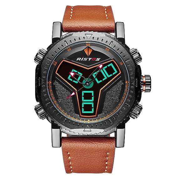 RISTOS Hombre Digital Militar Al Aire Libre Reloj Analógico y Digital Multifunción Con Alarma 30M Impermeable
