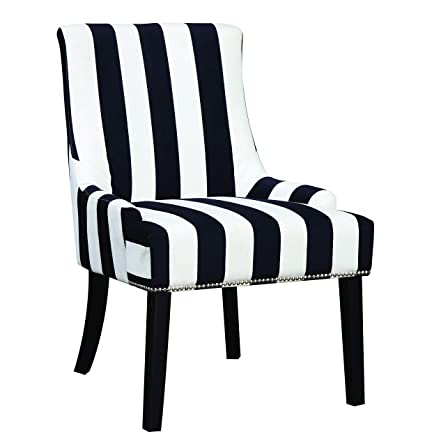 Merveilleux Armless Upholstered Chair Navy And White