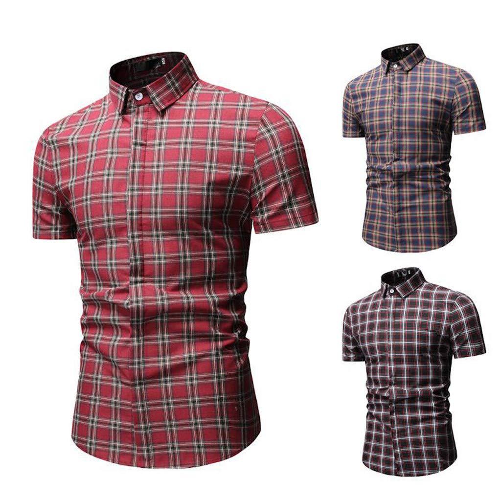 Mens Plaid Slim Fit Shirts Summer Casual Short Sleeve Button Turn-Down Tops T Shirts