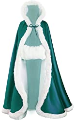 Wedding Cape Hooded Cloak for Bride Winter Reversible with Fur Trim Free Hand Muff Full Length 55 inches Teal