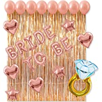 Bachelorette Party Supplies Bridal Shower Wedding Bride to BE Letter Balloons Large 43 inch Diamond Ring Balloons Rain Curtain