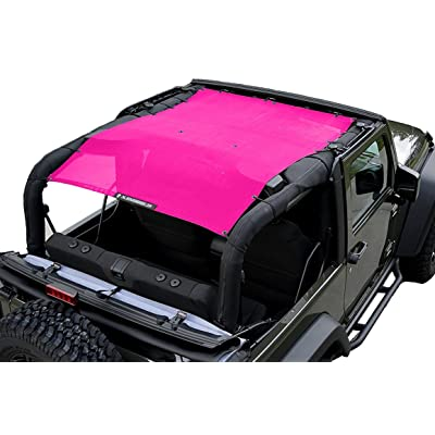 ALIEN SUNSHADE 2-Door Jeep Wrangler Mesh Shade Top Cover with 10 Year Warranty Provides UV Protection for Your JK (2007-2020) Pink: Automotive