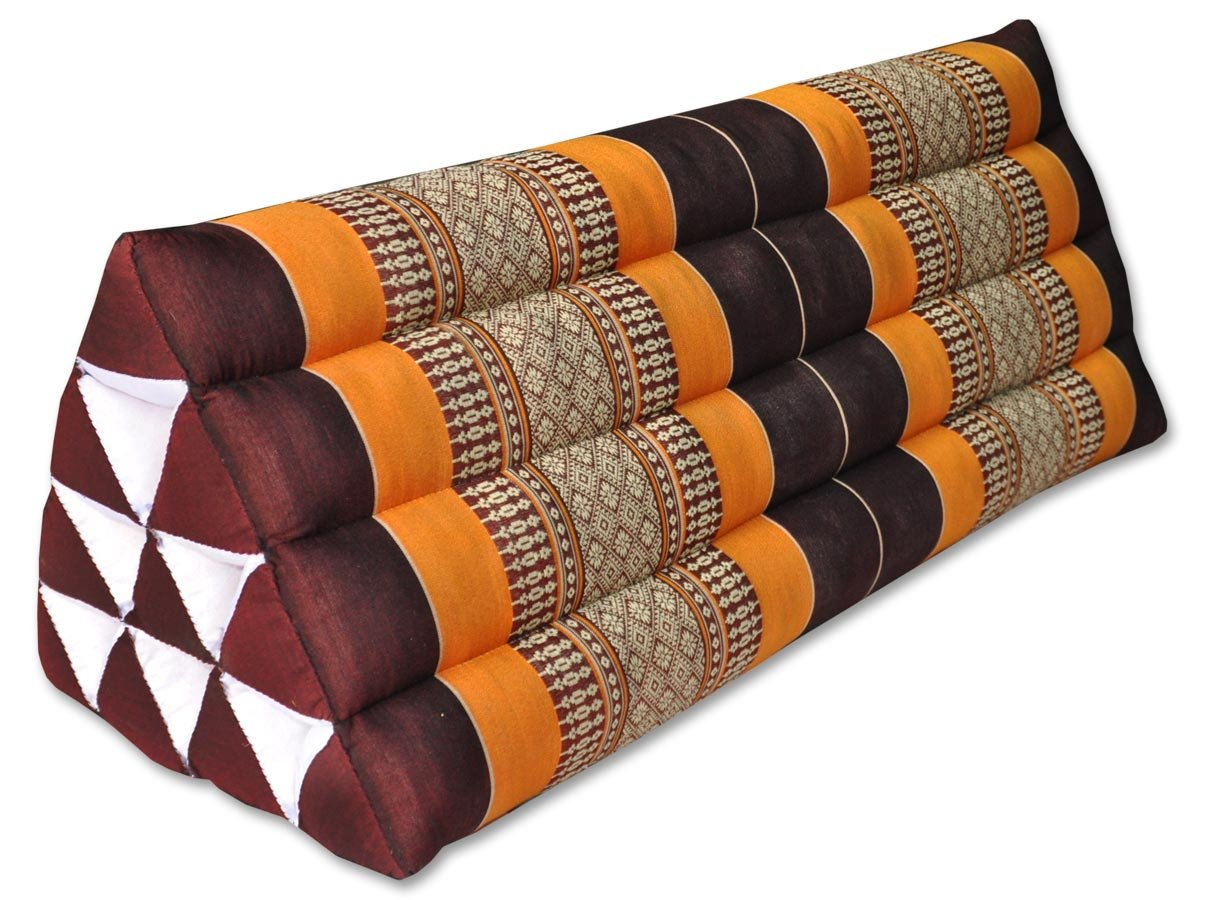 Thai triangular cushion XXL, brown/orange, relaxation, beach, kapok, made in Thailand.. (81115) by Wilai GmbH
