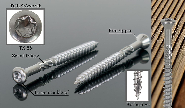 Profi 1000x Terrassenschrauben C1 Edelstahl TX25 Kerbspitze 5 x 80mm