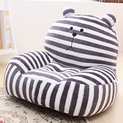 Gentil Kids Mini Lounger Sofa,Bean Bag Chair,Novelty Gift Grey Stripe Bear PP  Cotton