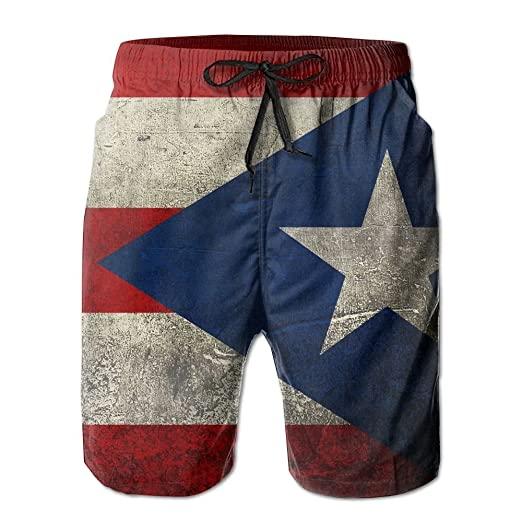 166f5d107d Pitsa7m Men's Retro Puerto Rican Flag Quick-Drying Summer Wimm Surf Trunk  Athletic Beach Board