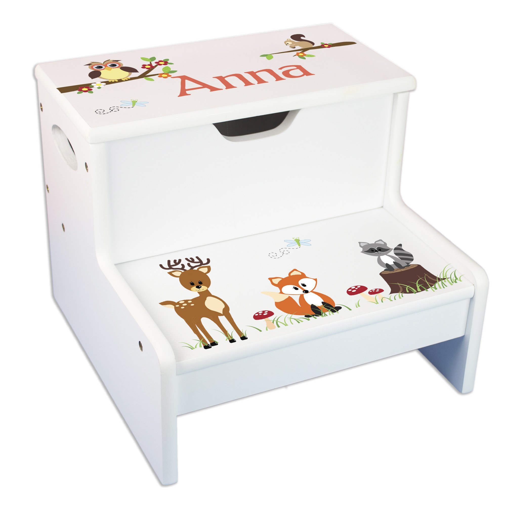 Personalized Woodland Critter Storage Step Stool by MyBambino