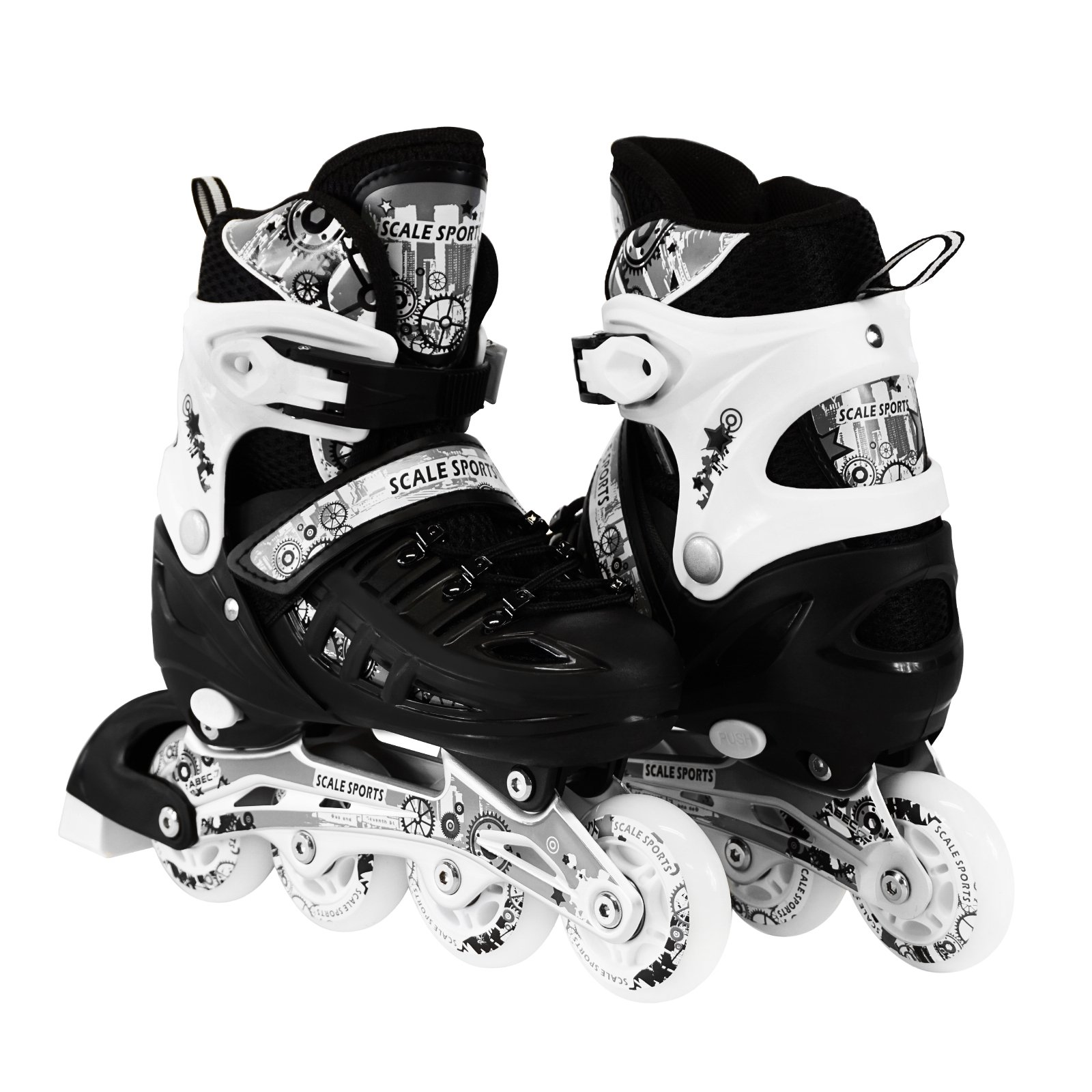 Scale Sports Kids Adjustable Inline Roller Blade Skates Black Small Sizes Safe Durable Outdoor Featuring Illuminating Front Wheels 905