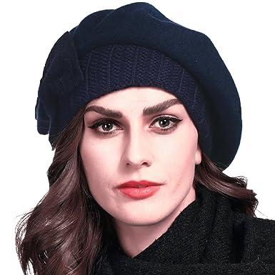 bba6294e67a4 FORBUSITE Béret Femme Laine,Bonnet Noir Rouge Hiver,Chapeau Casquette-Beret -Chaud