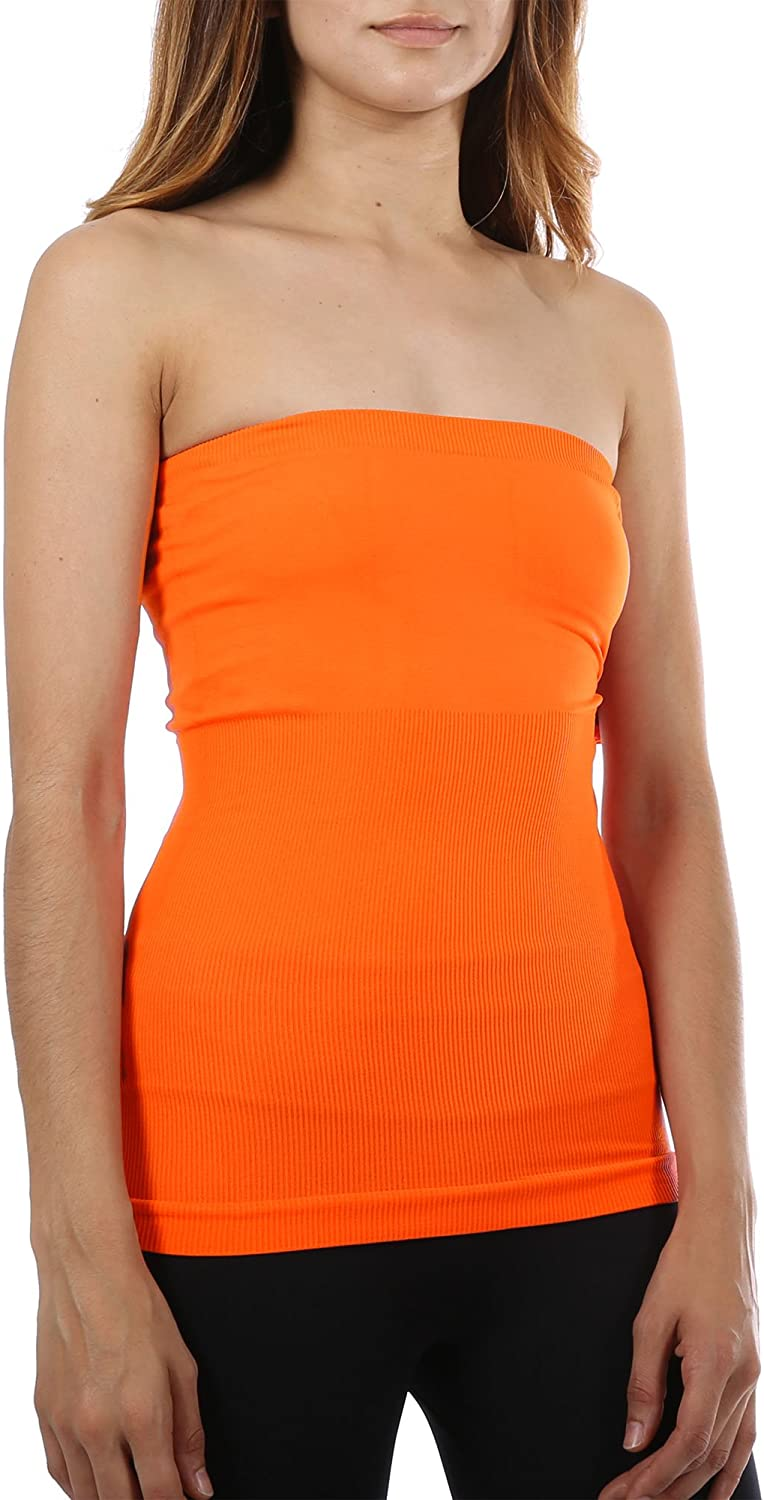 Ekimo Strapless Bandeau Tube Top Slimming Basic Shirt Xs L Neon Orange At Amazon Women S Clothing Store Neon orange #2 is a light orange with strong,w arm undertones and a sparkling, shiny finish. ekimo strapless bandeau tube top slimming basic shirt xs l neon orange