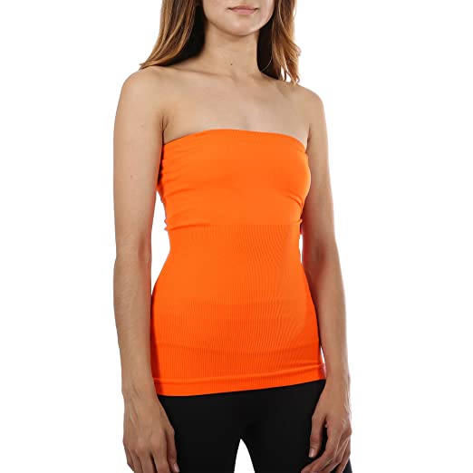 b3ff206fe4d Image Unavailable. Image not available for. Color  Strapless Bandeau Tube  Top Slimming Basic Shirt ...