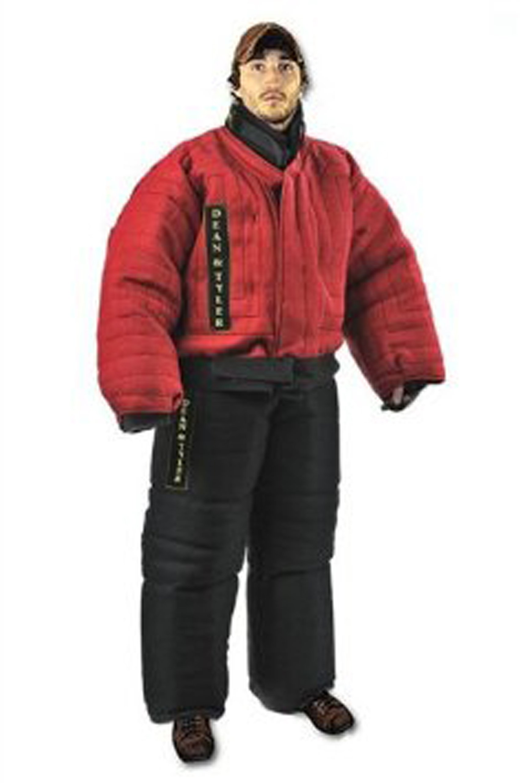 Dean and Tyler Full Protection Bite Suit, Strong French Linen - Red/Black - Size: Large (H: 5.6 to 5.10-Feet, W: 165 to 176-Pounds) by Dean & Tyler
