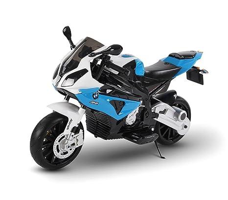 LT 832 Moto eléctrica para niños BMW asiento de cuero funcionamiento con llave (Azul)