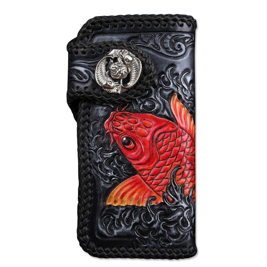 [龍紋鬼] 和柄財布 完全オリジナル手作り 牛革 レーザーウオレット 長財布 B01NCTA0FX金魚2ボタン