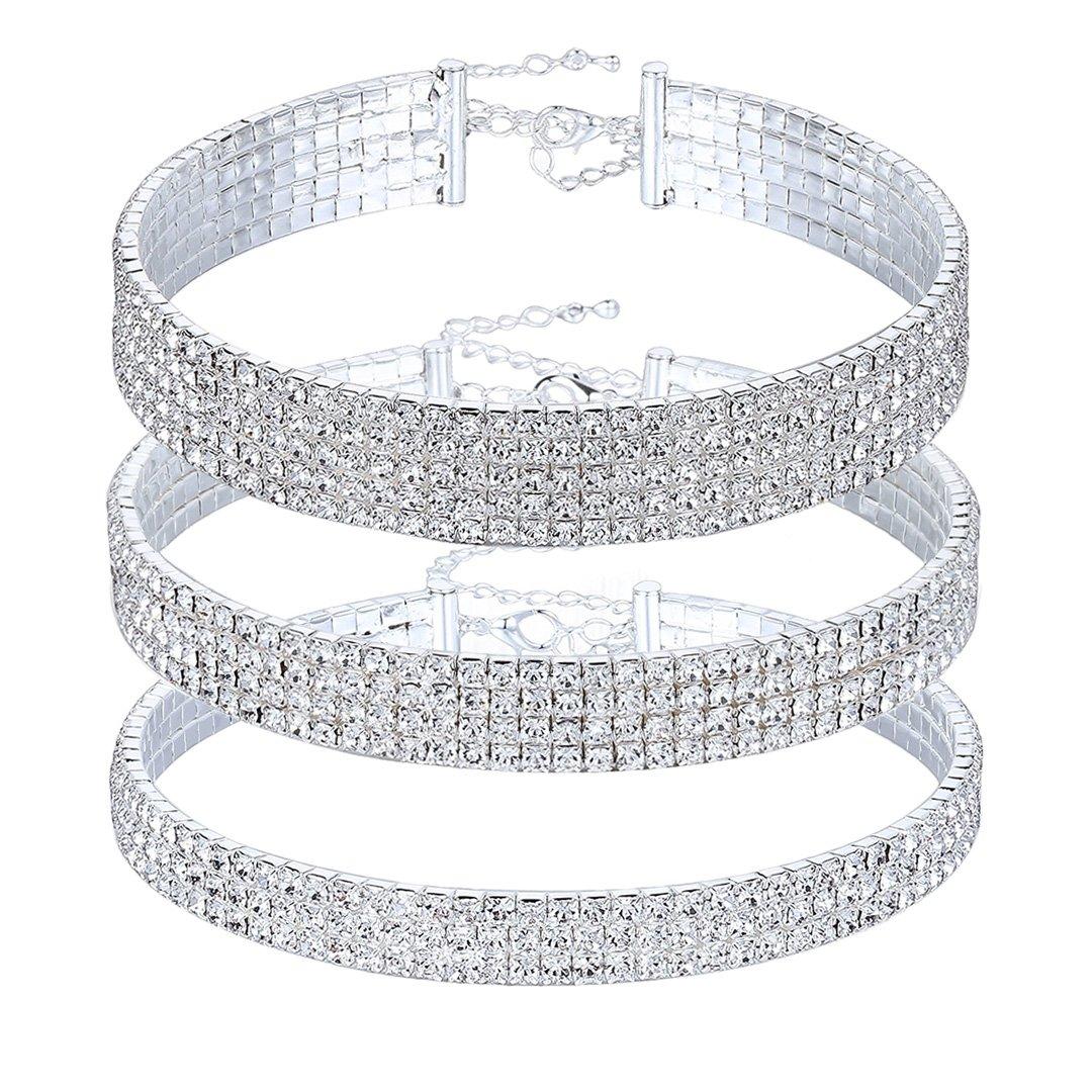 Naimo 3pcs Diamond Crystal Rhinestone Choker Necklace Wedding Collar Necklace (Included 3/4/5 row)
