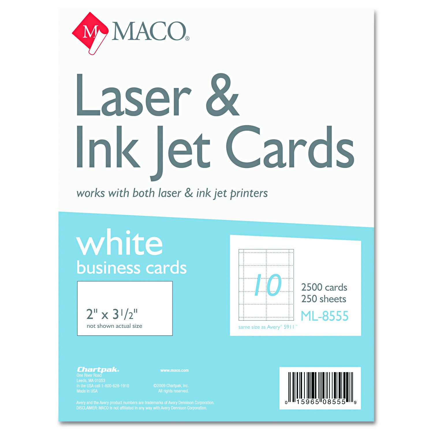 MACO ML8555 Microperforated Business Cards, 2 x 3 1/2, White (Box of 2500)