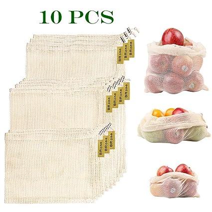 Bolsas Reutilizables,10 PCS Bolsas Reutilizables Fruta,Respetuoso del Medio Ambiente Reciclable Bolsas De Embalaje para Compras Y Almacenamiento De ...