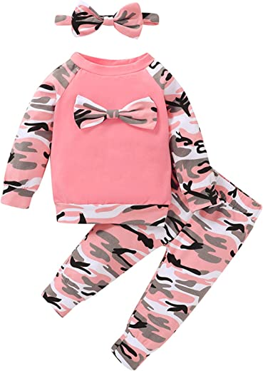 veikimous Newborn Baby Girl Clothes Outfits Ruffle Solid Onesies Tops Pants with Headband Baby Girl Clothe Sets