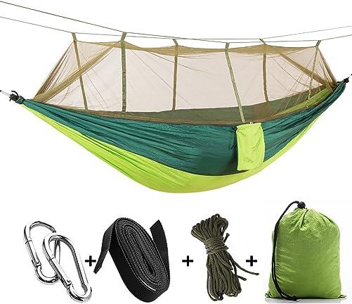 FREE EAGAL Camping Hammock – Upgraded Portable Hammock, Durable and Lightweight Nylon Hammock with Straps – Camping Hammock with Mosquito Net for Camping, Travel, Beach, Garden Indoor and Outdoor