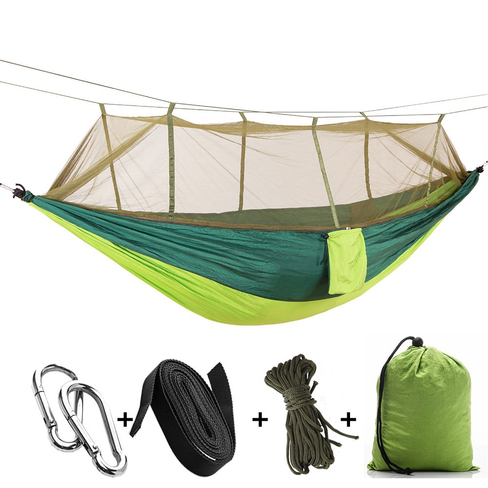 MIYA LTD Camping Double Hammock with Mosquito Net, Portable Lightweight Backpack Outdoor Garden Hang Bed Travel Hiking Camping Swing Survival Hangmat Parachute-A10