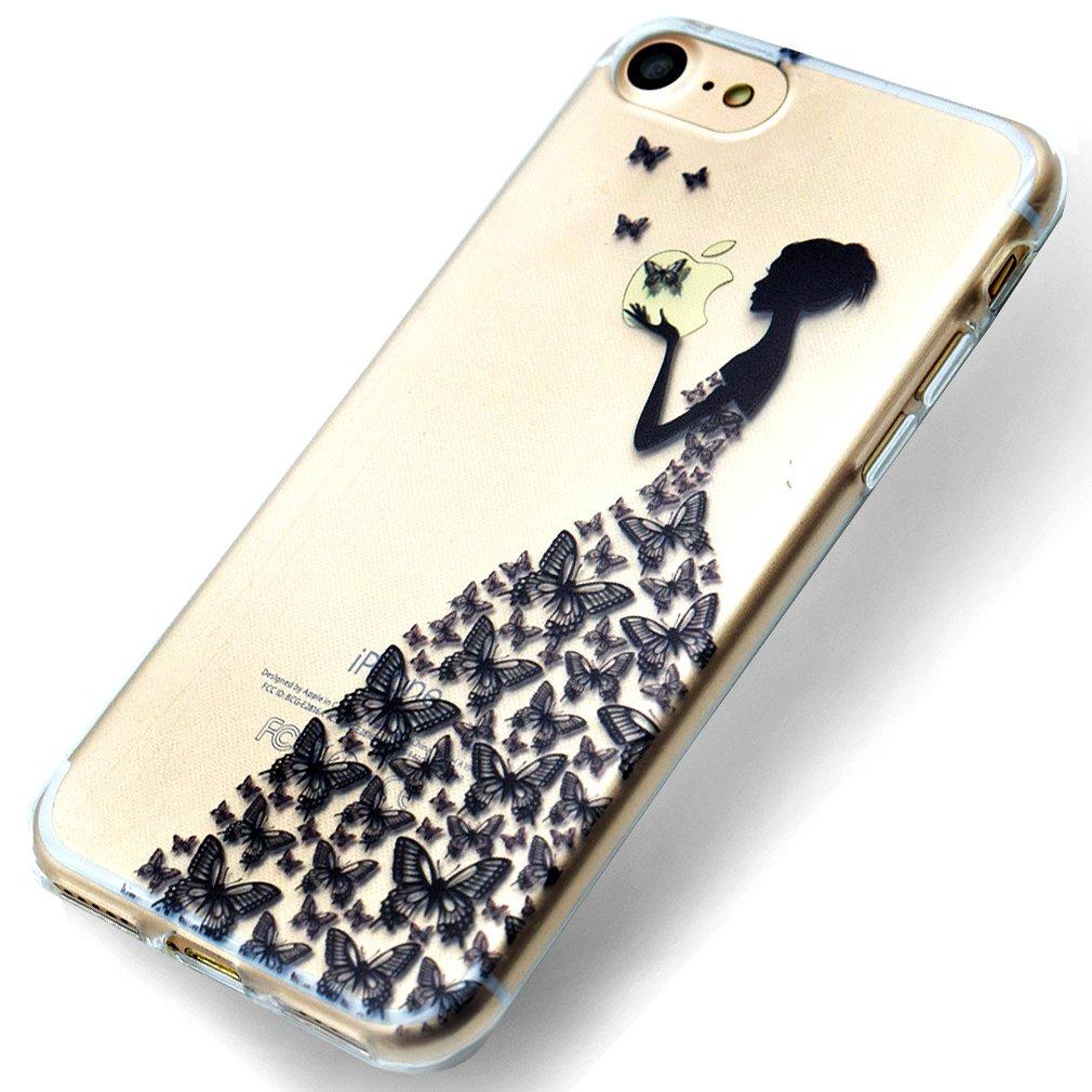 Funda iPhone 7, Carcasa iPhone 7(4.7Inch) Teléfono Caso Cubrir Transparente, Ultrafina Rigida Anti-rasguñe Anti Choques Anti-Arañazos Funda, Patrón rosado de la Mandala Piel Protectora Shell TPU Gel Silicona para iPhone 7 OUJD