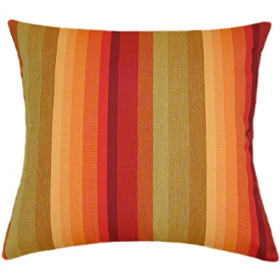 TPO Design, Sunbrella Astoria Sunset Indoor/Outdoor Striped Patio Pillow 18x18: Home & Kitchen