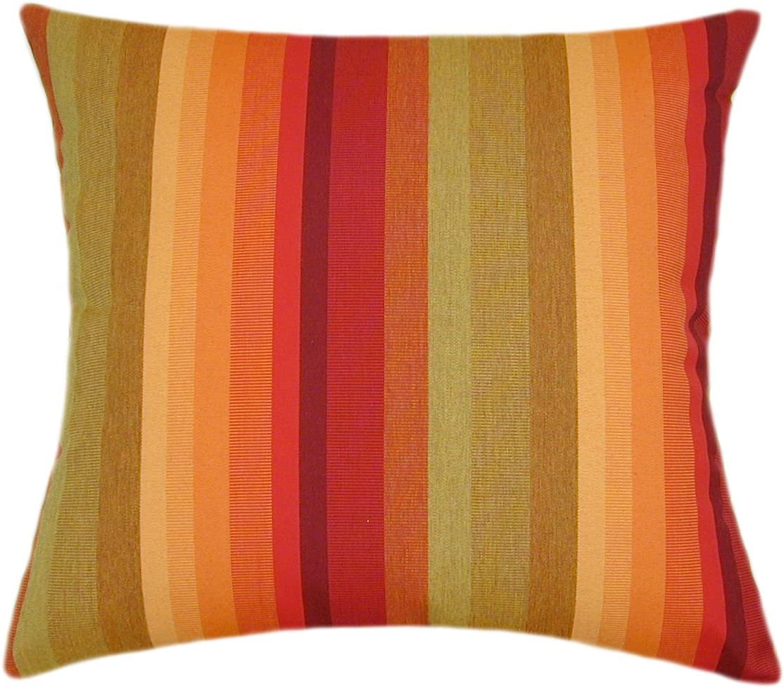 TPO Design, Sunbrella Astoria Sunset Indoor Outdoor Striped Patio Pillow 18×18