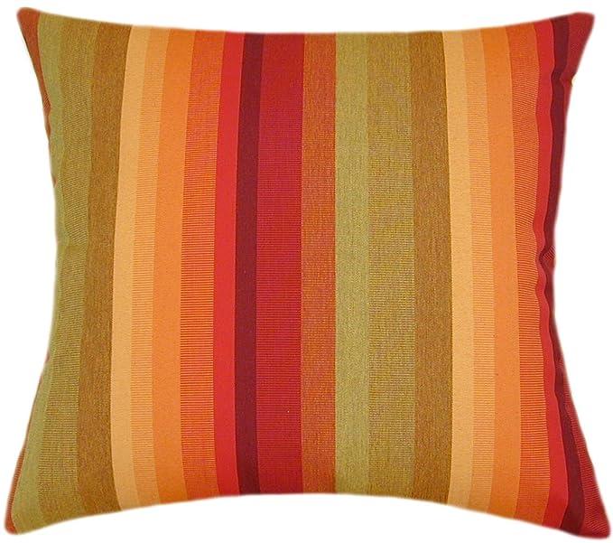 Mozaic Company Sunbrella Indoor// Outdoor Corded Pillows Astoria Sunset Stripe and Dupione Crimson Set of 2
