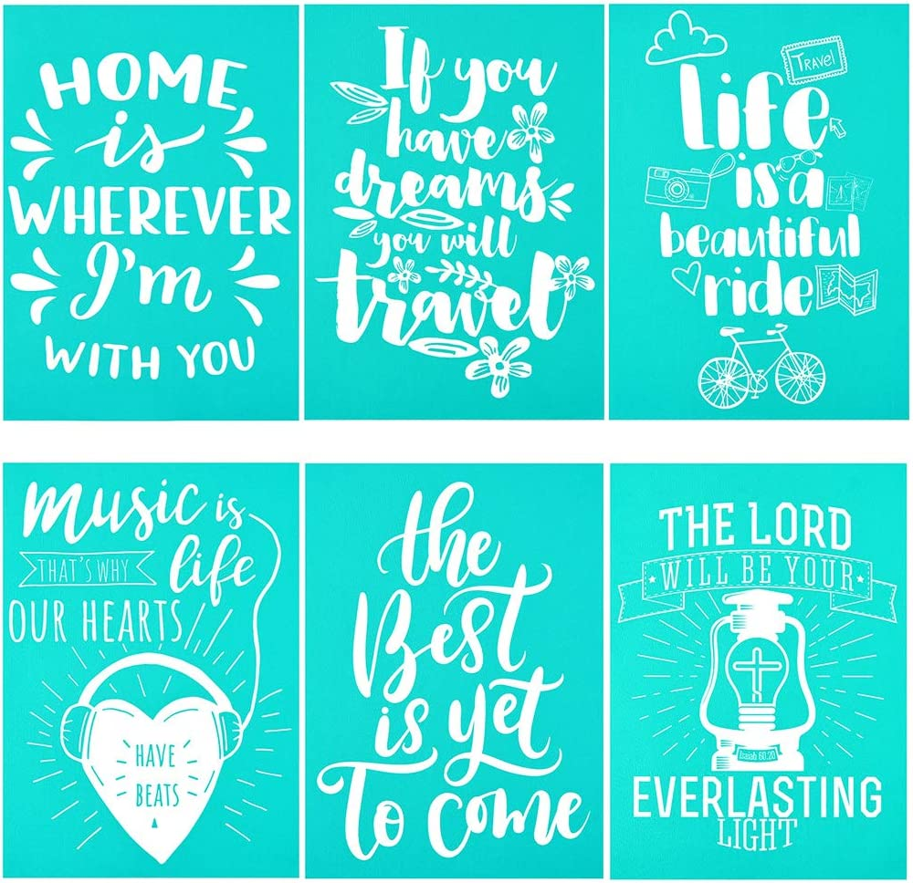 YeulionCraft DIY Self-Adhesive Silk Screen Printing Stencil Letters Mesh Transfers Reusable Stencils for Making DIY Sign Decoration Chalkboards Wood 8PCS