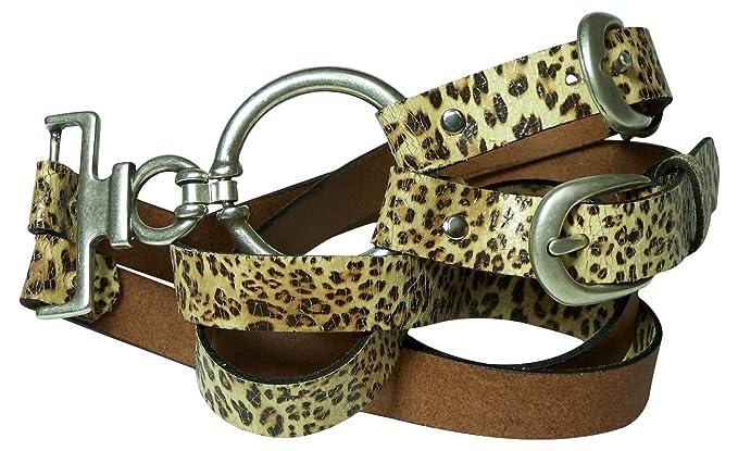 e3551addbe69 Fronhofer Double ceinture de taille à porter au niveau des hanches ou de la  taille imprimé léopard, boucle de ceinture à anneau 18000  Amazon.fr   Vêtements ...