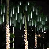 Amicool Meteor Shower Lights, Falling Rain Lights/Icicle Snow String Lights with 30cm 8 Tubes 144 Waterproof LEDs for Wedding Party Holiday and Christmas Decorations(White)