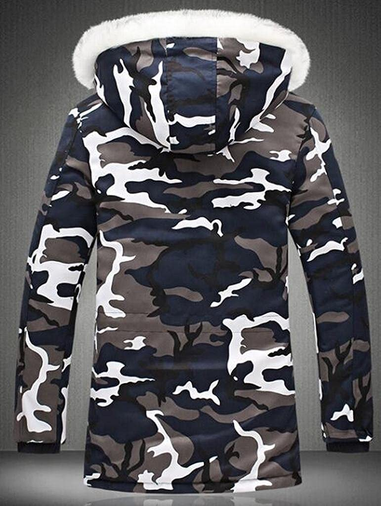 Oberora-Men Winter Faux Fur Hood Camo Military Thick Quilted Jacket Coat Outerwear