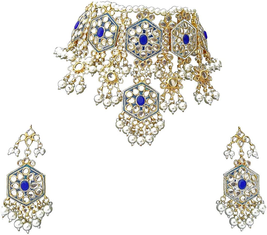 Finekraft Meena Kundan Bridal Wedding Designer Gold Plated Blue Color Necklace Jewelry Set