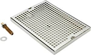 """DasMarine Stainless Steel 12"""" x 9"""" Surface Mount Beer Drip Tray with Brass Drain/Nipple/Nut"""