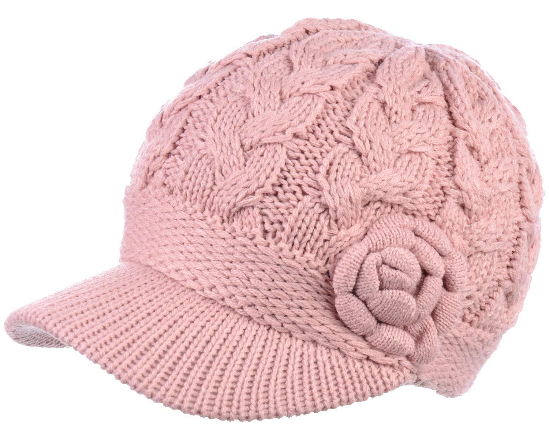 BYOS Womens Winter Chic Cable Warm Fleece Lined Crochet Knit Hat W/Visor Newsboy Cabbie Cap